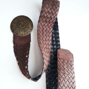 Wide Brown Bohemian Braid Belt Size L/ XL